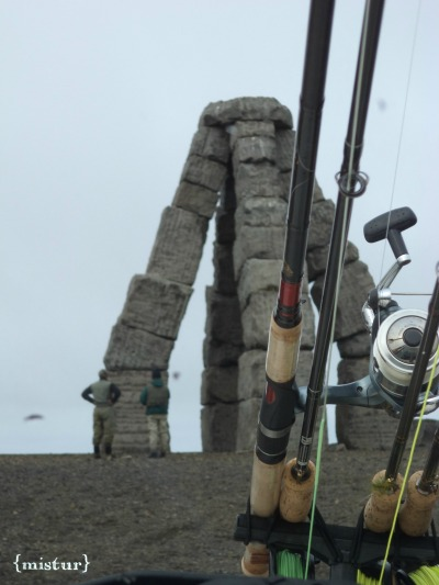 Looking at the Arctic Henge while taking a break from fishing